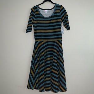 Lularoe Nicole style striped dress size L